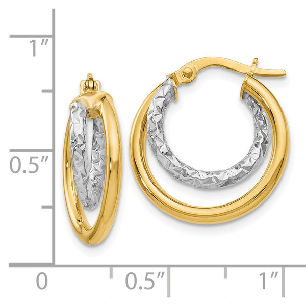 Leslie's 14k Two-tone Polished and D/C Double Hoop Earrings