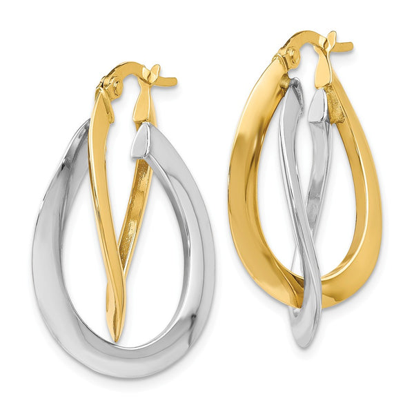 Leslie's 14k Two-tone Polished Twisted Double Hoop Earrings