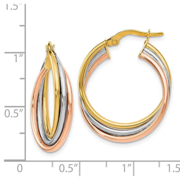 Leslie's 14k Tri-color Polished and Textured Twisted Hoop Earrings