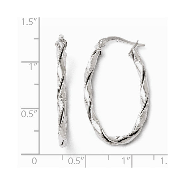 Leslie's 14k White Gold Polished and Textured Twisted Hoop Earrings