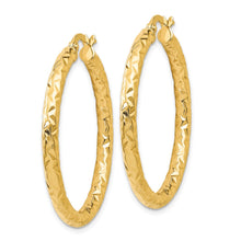 Load image into Gallery viewer, Leslie's 14k ForeverLite Polished and Textured Hoop Earrings