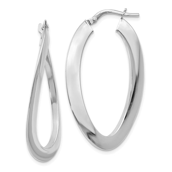 Leslie's 14k White Gold Polished Twisted Oval Hoop Earrings