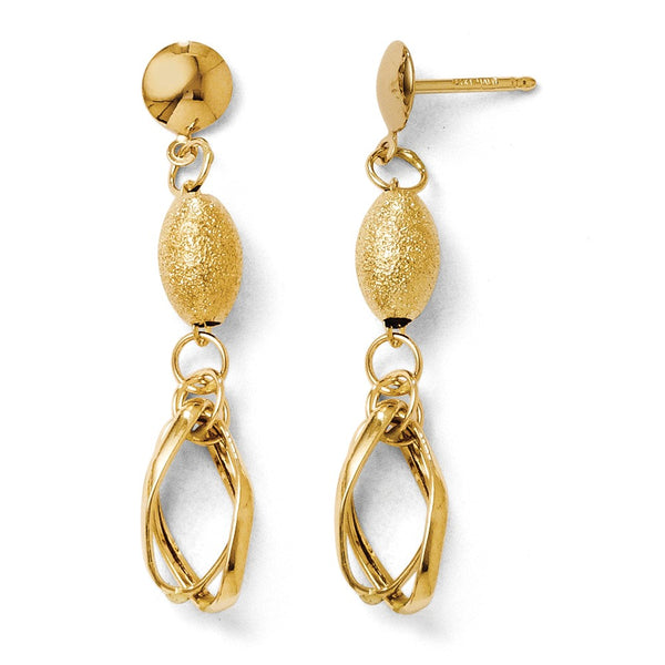 Leslie's 14k Polished and Textured Dangle Post Earrings