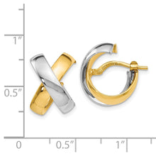 Load image into Gallery viewer, Leslie's 14k Two-tone Polished Hinged Hoop Earrings