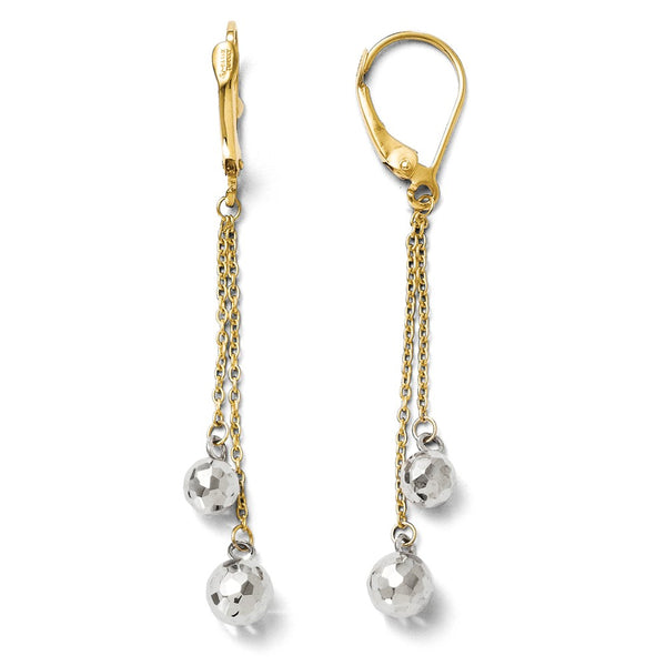 Leslie's 14k Two-tone Polished Dangle Leverback Earrings