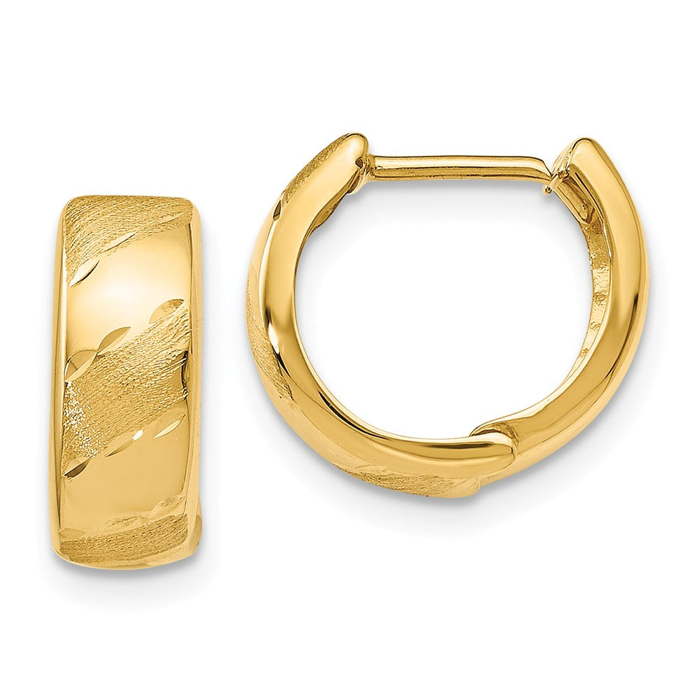 Leslie's 14k Polished and Satin Hinged Hoop Earrings
