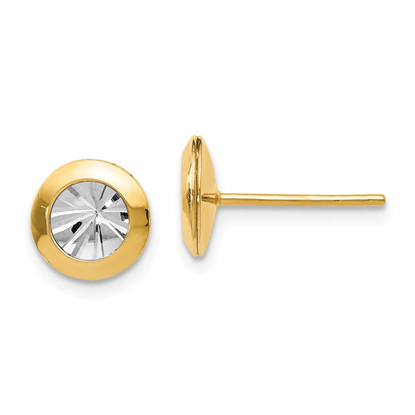 Leslie's 14k Rhodium and Polished and Diamond-cut Post Earrings