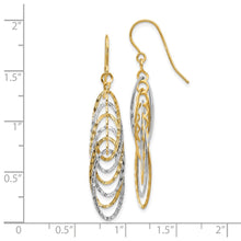Load image into Gallery viewer, Leslie's 14k Two-tone Polished and Textured Shepherd Hook Earrings