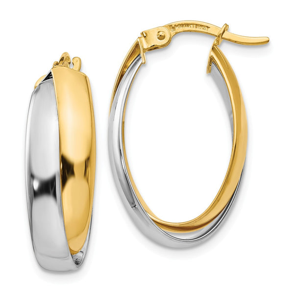 Leslie's 14k Two-tone Polished Double Oval Hoop Earrings