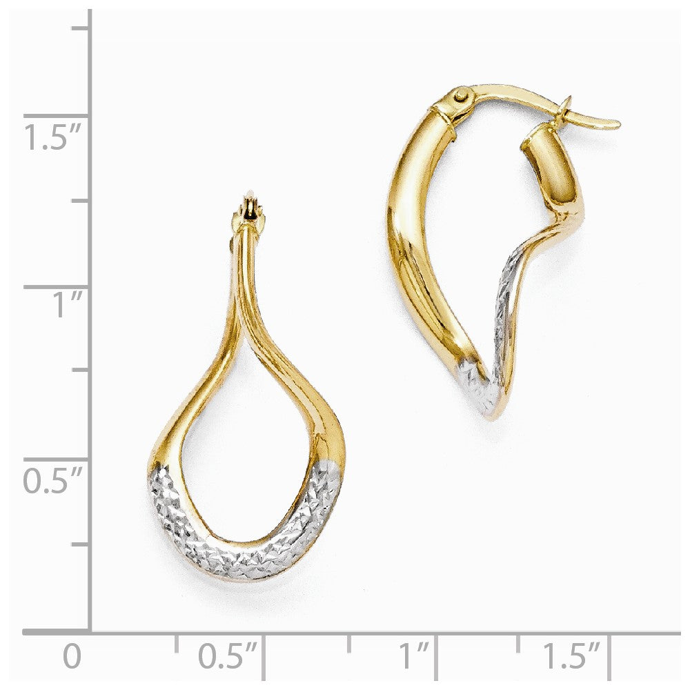 Leslie's 14k w/White Rhodium Polished & Diamond-cut Hoop Earrings