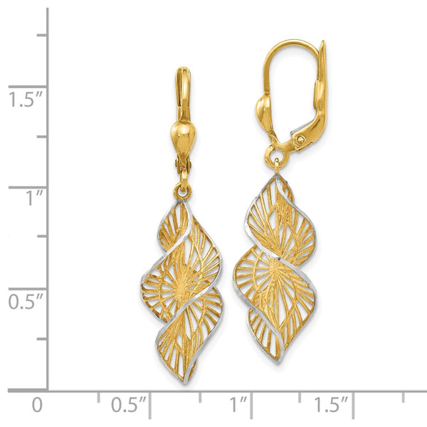 Leslie's 14k w/White Rhodium Textured and D/C Leverback Earrings