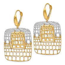 Load image into Gallery viewer, Leslie's 14k Two-tone Polished and Diamond-cut Leverback Earrings