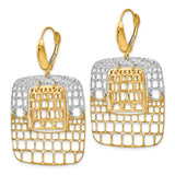 Leslie's 14k Two-tone Polished and Diamond-cut Leverback Earrings