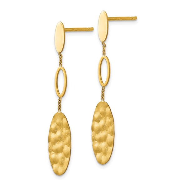 Leslie's 14k Polished, Brushed and Textured Post Dangle Earrings