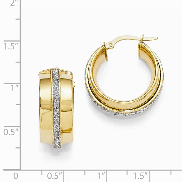 Leslie's 14k Polished Glimmer Infused Hinged Hoop Earrings