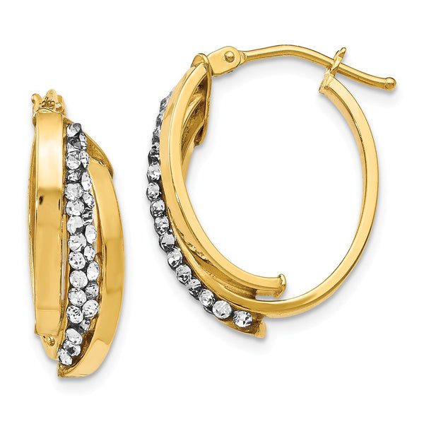 Leslie's 14K Crystals from Swarovski Polished Oval Hinged Hoop Earrings