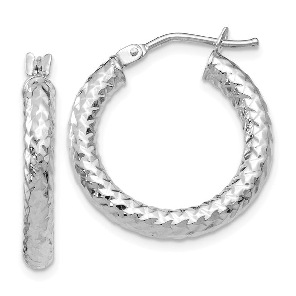 Leslie's 14k White Gold Textured and Polished  Hoop Earrings