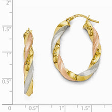 Load image into Gallery viewer, Leslie's 14K w/ Rhodium Plating Polished Twisted Hoop Earrings