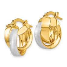 Load image into Gallery viewer, Leslie's 14k w/ Rhodium Plated Polished & Textured Hoop Earrings
