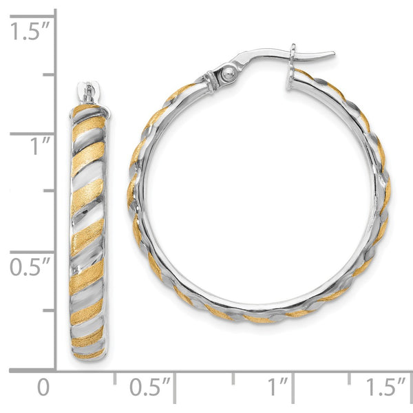Leslie's 14k White Gold with Yellow Polished Brushed Large Hoop Earrings