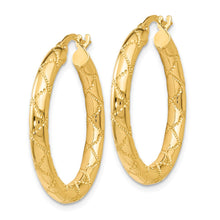 Load image into Gallery viewer, Leslie's 14k Polished and Textured Hinged Hoop Earrings