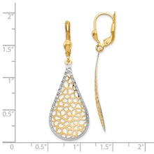 Load image into Gallery viewer, Leslie's 14k w/White Rhodium Polished & D/C Leverback Earrings