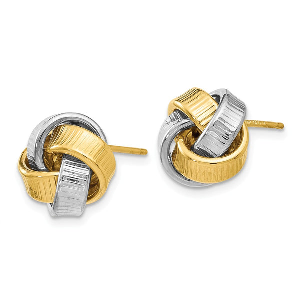 Leslie's 14k Two-tone Polished Textured Post Earrings