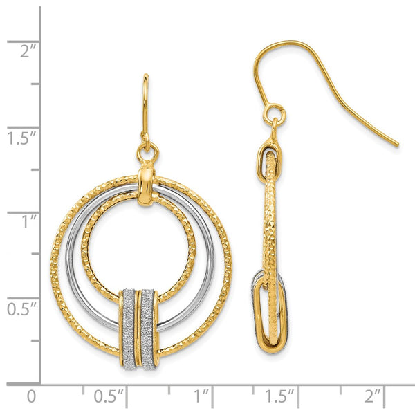 Leslie's 14k Two-tone Glimmer Infused Shepherd Hook Earrings