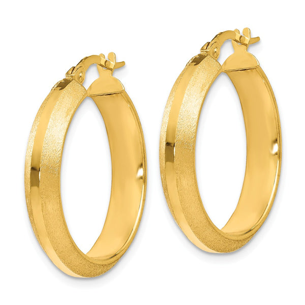 Leslie's 14k Polished and Brushed Hinged Hoop Earrings