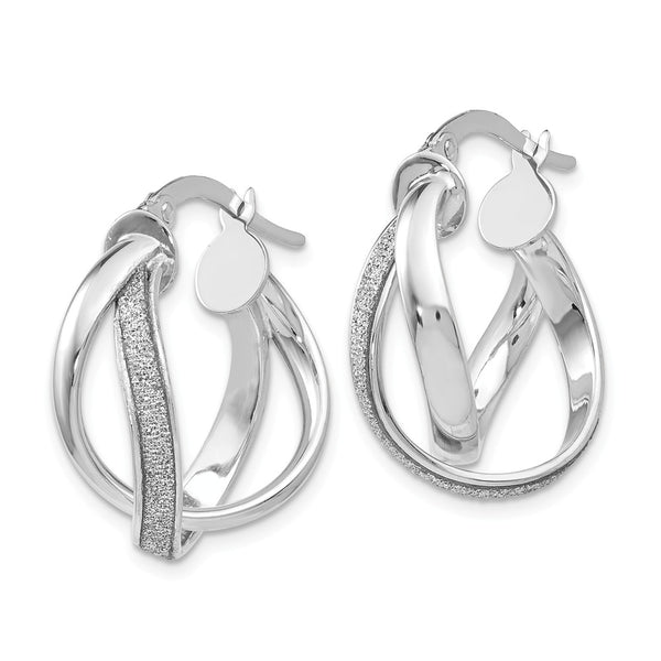 Leslie's 14k White Gold Glimmer Infused Polished Twisted Hoop Earrings