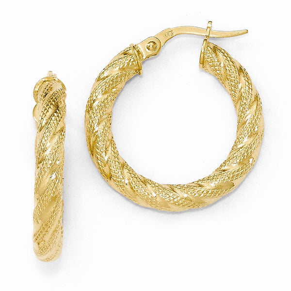 Leslie's 14k Textured Hoop Earrings