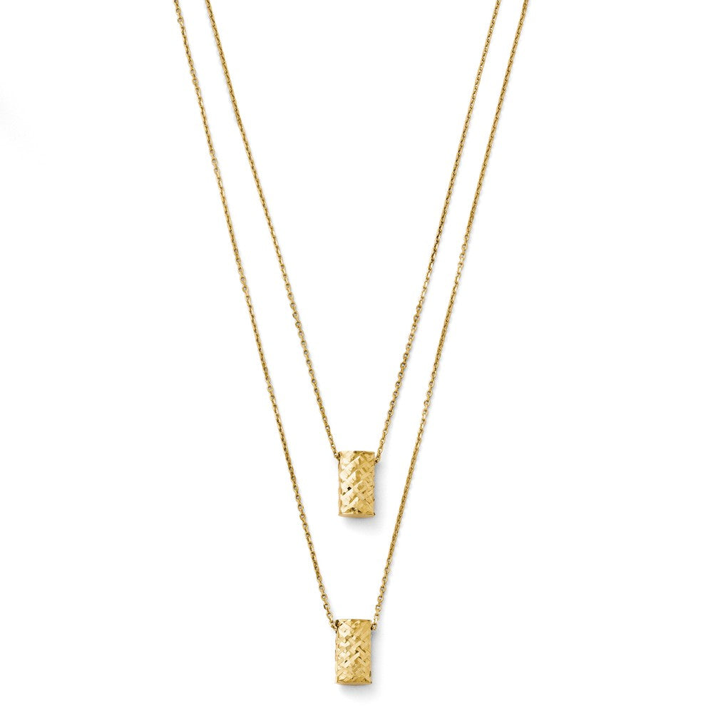 Leslie's 14K Yellow Gold Two Layer Diamond-cut Necklace