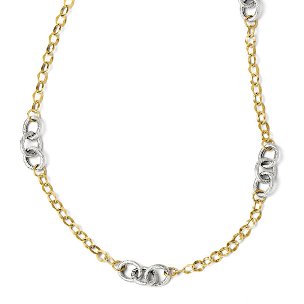 Leslie's 14K Two-tone Polished & Textured  With 2in ext. Necklace