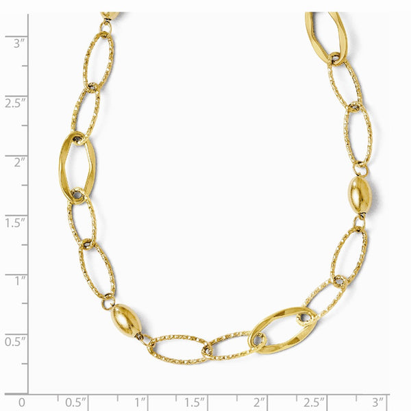 Leslie's 14K Yellow Gold Polished and Textured Fancy Link w/2in ext Necklace