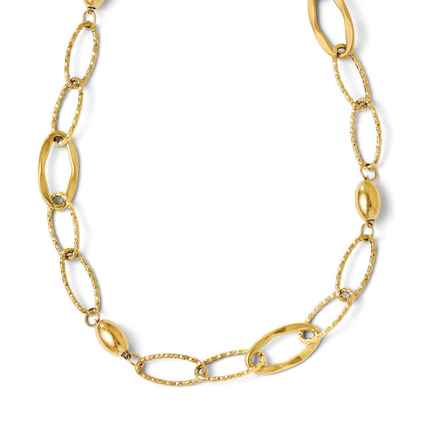 Leslie's 14K Yellow Gold Polished and Textured Fancy Link With 2in ext Necklace