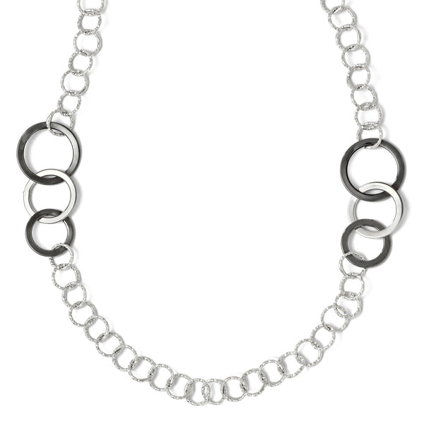Leslie's 14K White Gold Black Rhodium Polished & Textured Necklace