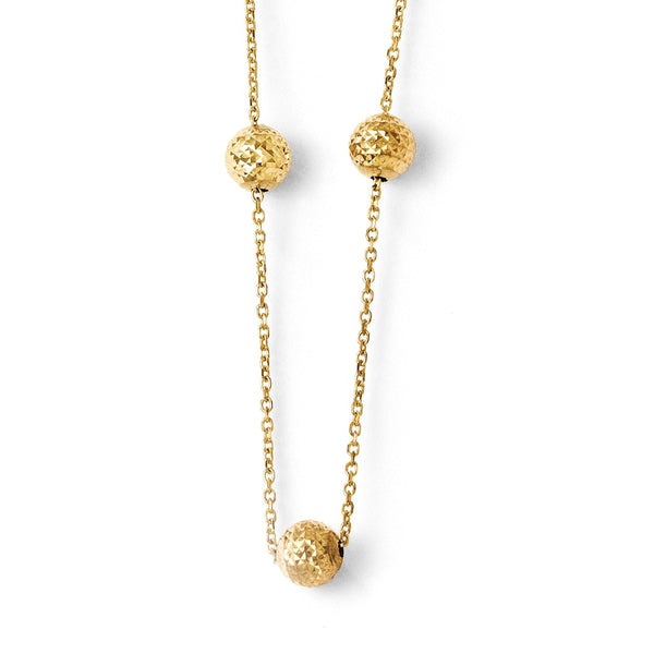 Leslie's 14K Yellow Gold Diamond-cut Beaded Necklace