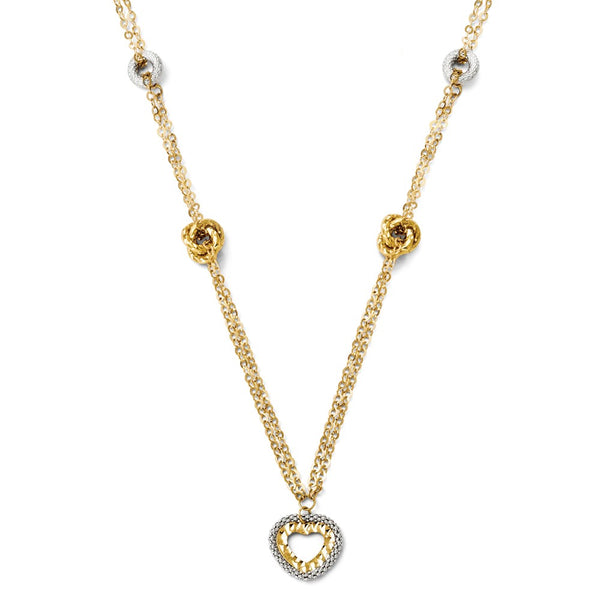 Leslie's 14K Two-tone Polished and Diamond Cut Fancy Heart Necklace