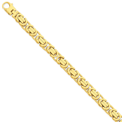 14K 10.1mm Hand-polished Fancy Link Bracelet