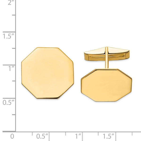 14K Octagon Cuff Links