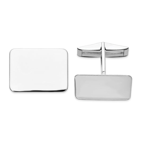 14K WG Rectangular Cuff Links