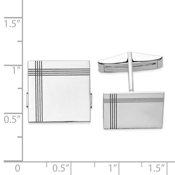 14K WG Square With Line Design Cuff Links