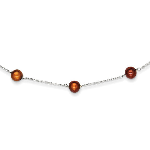 14K WG Brown FW Cultured Pearl Necklace
