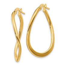 Load image into Gallery viewer, 14k  2mm Polished Tapered Twist Hoop Earrings