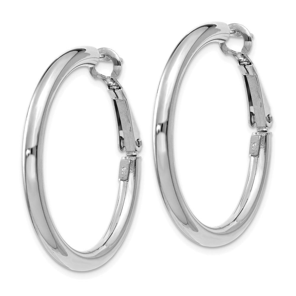 14k White Gold 3x25mm Polished Round Hoop Earrings