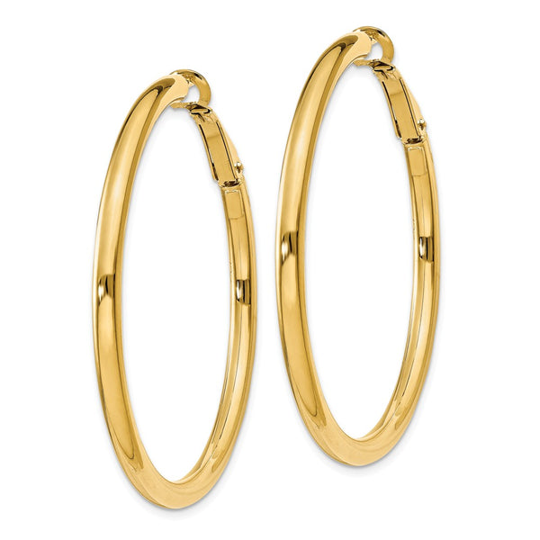 14k  3x40mm Polished Round Hoop Earrings