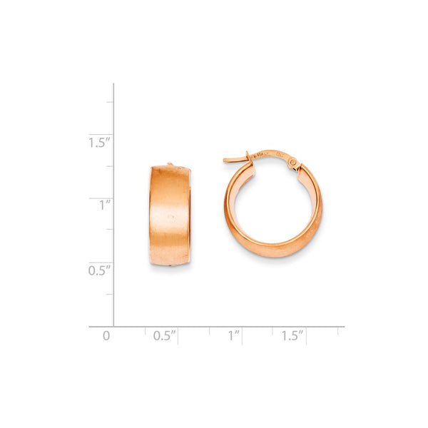 14k Plated Rose Gold 8x15mm Satin Round Hoop Earrings