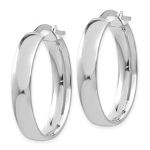 Load image into Gallery viewer, 14k White Gold 5.75mm Polished Oval Hoop Earrings
