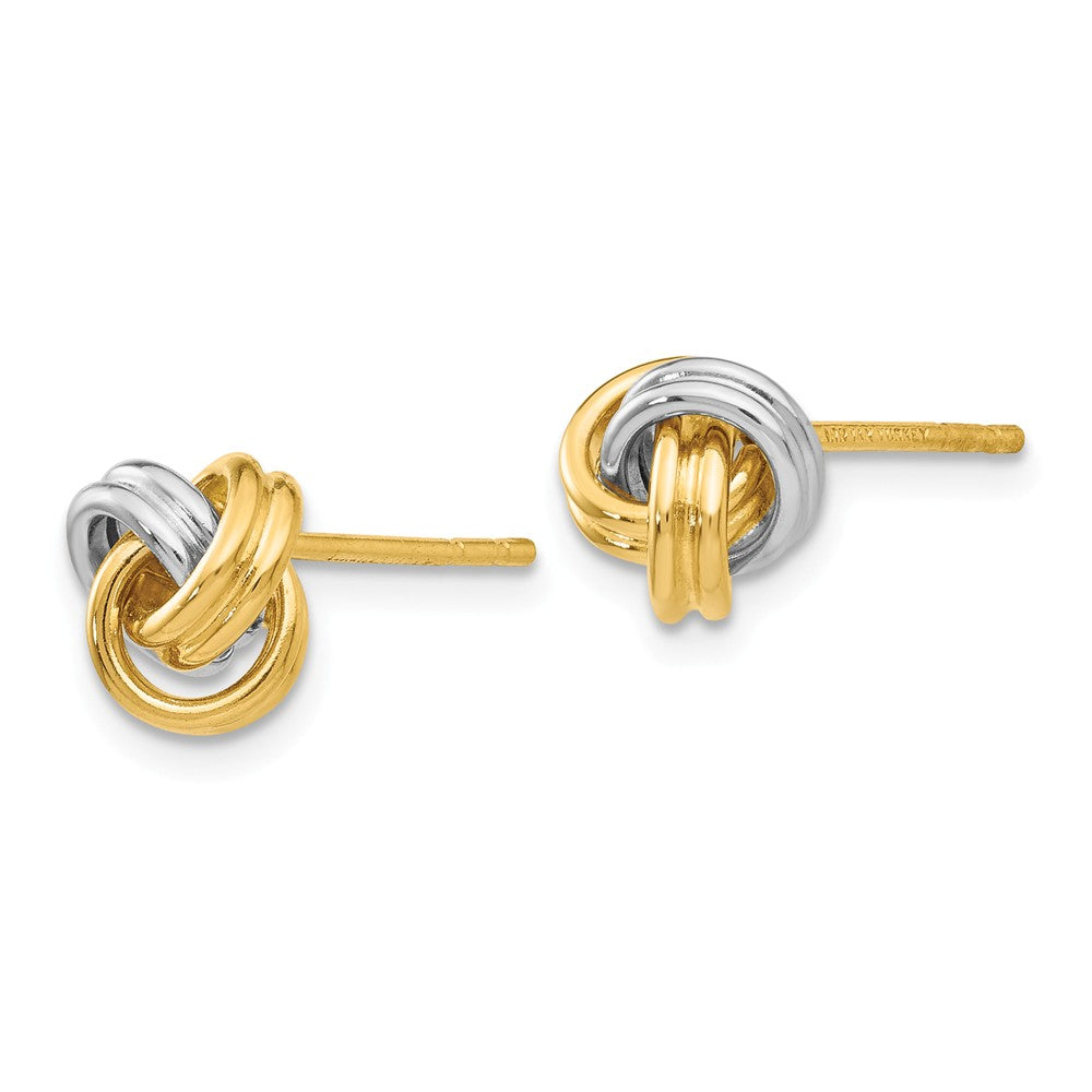 14K & Rhodium Love Knot Post Earrings