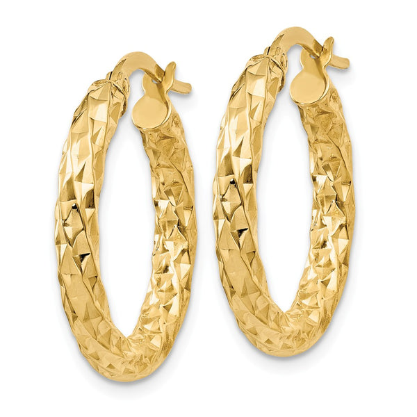 14k  3mm Textured Round Hoop Earrings